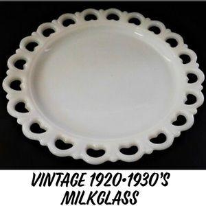 ANTIQUE 1920-30's HEART LACE  MILK GLASS PLATTER